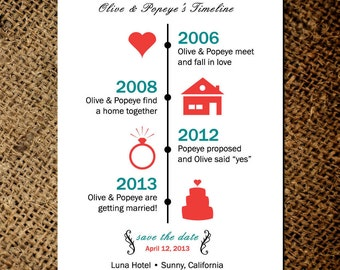 Timeline of Love - Save the Date Magnets or card - Custom save the date magnets No.1