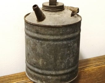 antique oil can, karosene can, rustic spouted can, galvanized