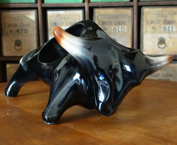 Vintage dresser caddy, McCoy pottery buffalo, made for for Swank Co 1950