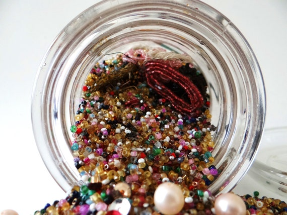 Vintage glass beads - Vintage glass lidded ball jar