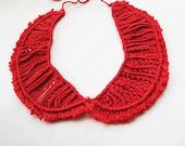 Red  Peter Pan Collar - Red collar necklace-Fashion Knitted Collar Bib Necklace-red Collar Bib Necklace