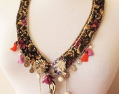TURKISH ethnic Embroidered necklace -turkish fabric, handmade  necklace-intense ethnic necklace