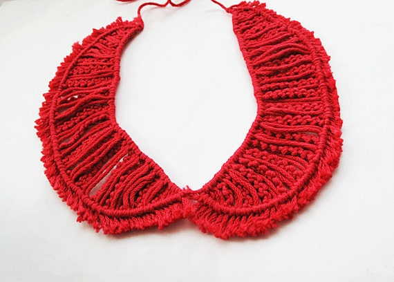 Red  Peter Pan Collar - Red collar necklace-Fashion Knitted Collar Bib Necklace-red Collar Bib Necklace