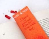 Jane Eyre orange  bookmark, with handwritten calligraphy - quotation