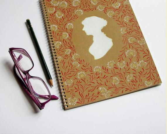 Jane Austen hand painted Spiral Notebook - White flowers
