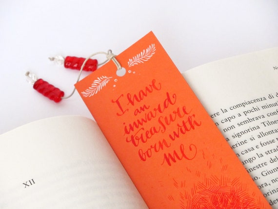 Jane Eyre orange  bookmark, with handwritten calligraphy - quotation