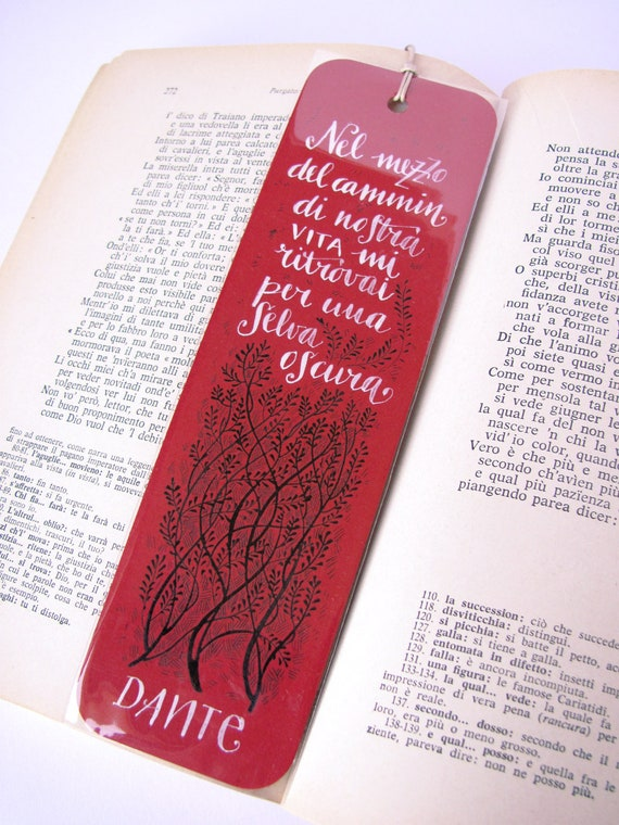 Dante Alighieri - The Divine Comedy - red bookmark, with handwritten calligraphy - selva oscura