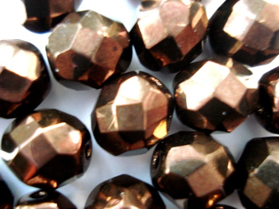 SALE - Metallic Bronze Glass Beads