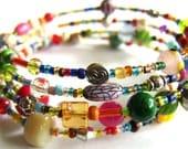Pretty multicoloured beaded memory wire bracelet