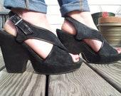 Grunge Black Suede Heeled Sandals. 10