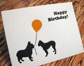 Happy Birthday - French Bulldog and Boston Terrier Letterpress Greeting Card