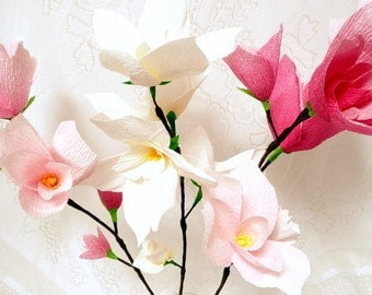 Pink and White Paper Magnolias