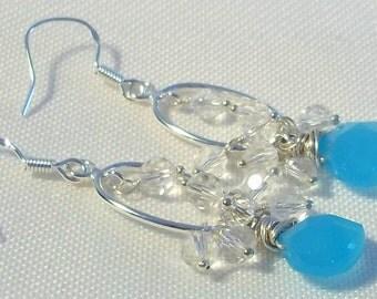 Rock Crystal Quartz Earrings, Blue Chalcedony Earrings, Sterling Silver Dangle Earrings, Silver Earrings