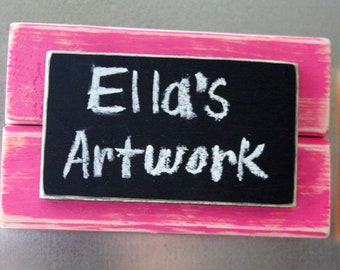 Mini Frame Chalkboard Magnet - Chalkboard Sign - Distressed Wood - Pink