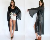 MOONLIGHT DRIVE Sheer Black WITCHY Bell Sleeve Duster