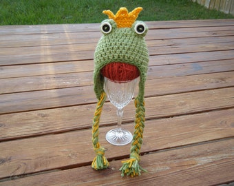 Crocheted Frog Prince Hat- Made to Order- Any size