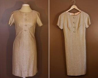 Gold Yellow R & K Originals 1960s Party Dress Size Medium