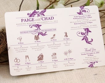Set of 30 Timelines / Purple & Gold Flourish Wedding Timeline