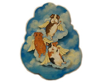 When Pigs Fly, Guinea Pig Art, Flying Guinea Pigs, Angel Guinea Pigs