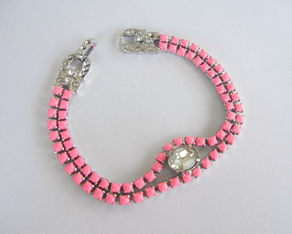 Vintage 1950s One Of A Kind Hand Painted Neon Pink  Rhinestone Bracelet