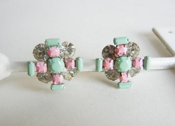 The Lisa Earrings - Mint Green and Pale Pink Rhinestone Earrings - OOAK