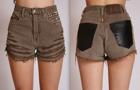 Shredded Olive Brown Studded Leather Shorts XS