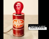 Dr. Pepper Lamp - Totally Cool Vintage Soda Can Lamp from the 1960's - obscurearchive