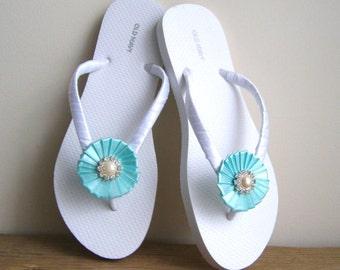 Tiffany Blue and White Bridal Flip Flops, Beach flipflops, Wedding on a beach sandals