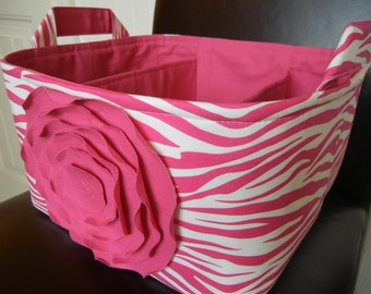 """LG Diaper Caddy -11""""x10""""x7"""" Two Dividers-Fabric Storage Organizer-Baby Gift-""""Hot  Pink Rose on Hot Pink Zebra"""""""