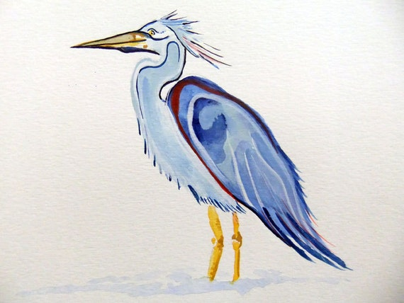 Original Watercolor Painting-Crane
