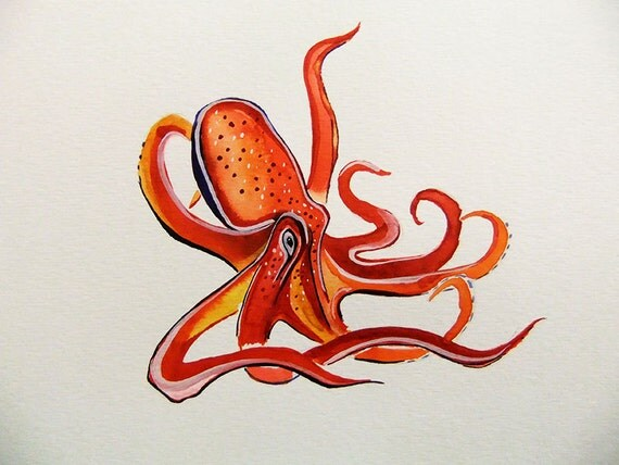 Original Watercolor Painting-Octopus