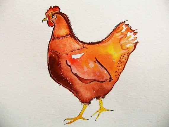 Chicken-Original Watercolor Painting