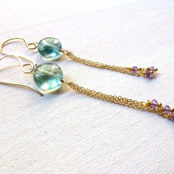Fluorite Tassel Earrings Gold Filled Gemstone Jewelry Aqua Amethyst