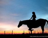 Horse & Rider Silhouette -Sunset Sky Nature -11x16 Fine Art Print -Black Blue -Home Decor