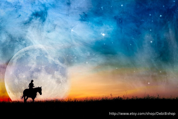 Horse & Rider Starry Night Fantasy Full Moon Orion Nebula