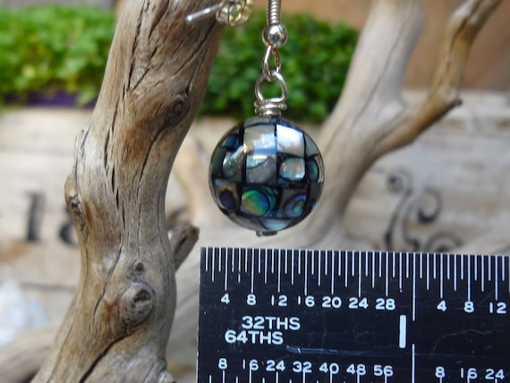 Sterling Silver Abalone Shell  Mosaic - Round Sphere Earrings