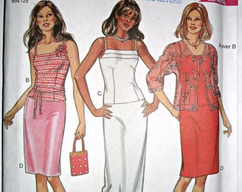 Misses Straight Skirt Fitted Camisole Cardi Jacket Horizontal Pleats Vintage Sewing Pattern New Look 6081 Size 8 - 18 Plus Size Included
