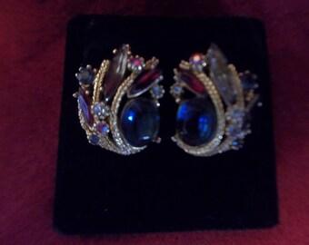 Jewel Tone ART Signed Earrings