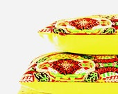 TWO Vintage Aztec Tribal Fabric Cushion Cover with Neon Yellow Fabric Backing - Limited Edition