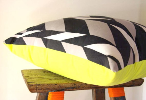 Cushion Cover Large Chevron Navy, Grey & White with a POP of Neon Yellow  50 x 50cm