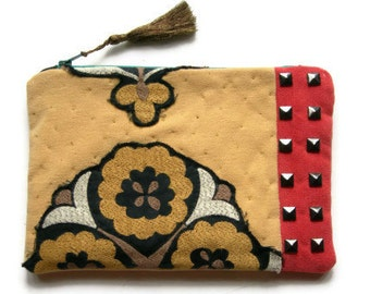 Applique Clutch with Embroidered Details and Studs. Coral. Custard. Petrol Blue. Purse. Pouch.OOAK