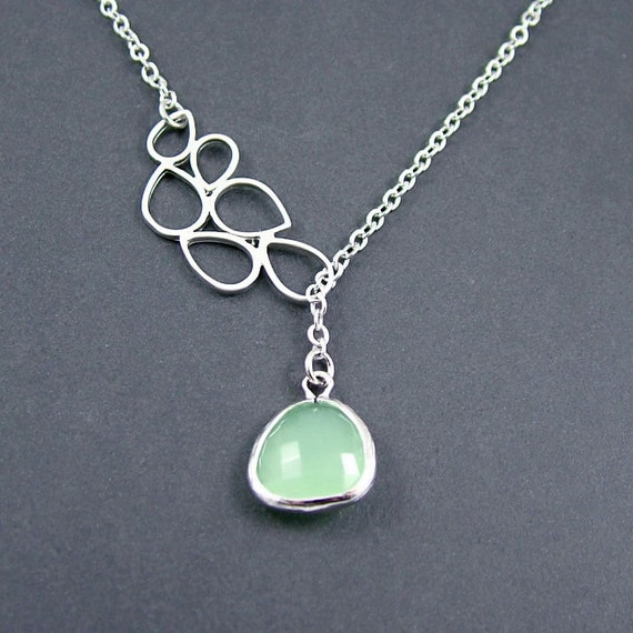 Opal Green Teardrop Lariat Necklace, Green Framed Glass Drop and Teardrop Connector Silver Plated