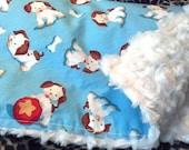 Poky Little Puppy Print  with Ivory Minky Swirl Baby Boy or Girl Blanket