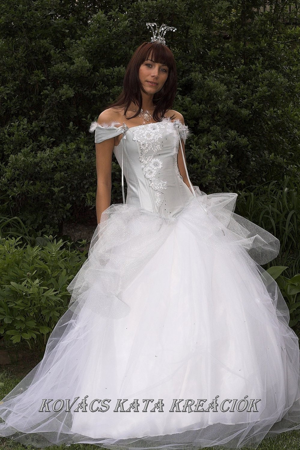 Cinderella style fairy tale inspired silver corseted by for Fairy inspired wedding dresses
