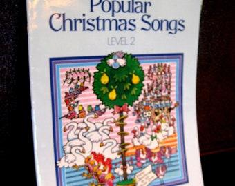 Christmas vintage piano sheet music, Popular Christmas songs, Bastien Piano Basics, Level 2, Christmas Carol Song Book, 1986