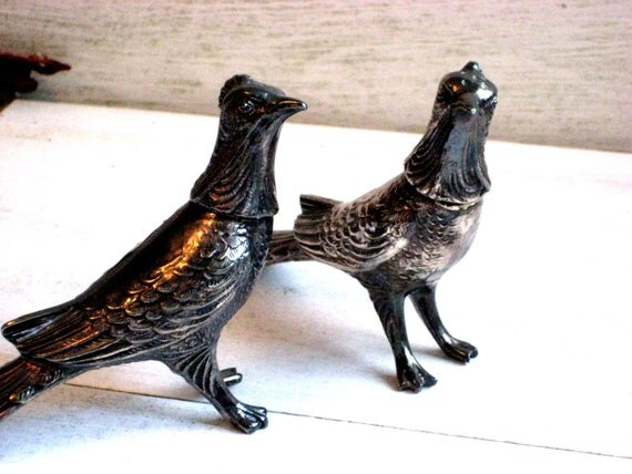 Silver plate pheasant salt and pepper shakers, Vintage shabby decor, aged patina, 4 x 5  inches