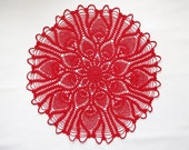 SUMMER SALE 20% OFF- Red pineapple doily: red handmade cotton crochet doily - pineapple