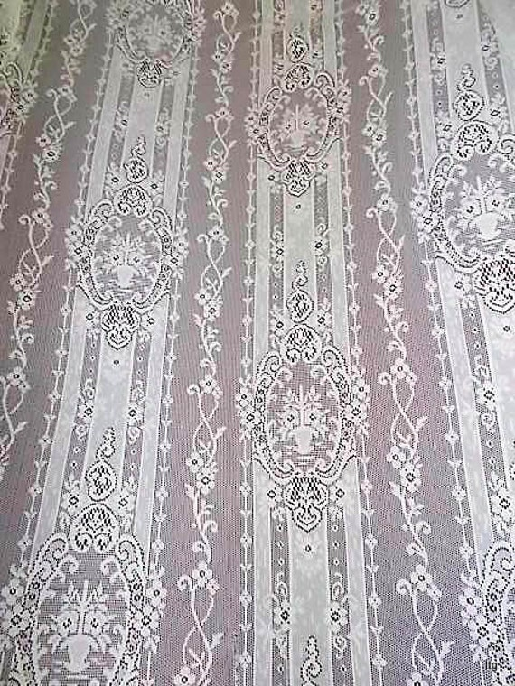 """Two Vintage Light Ivory Lace Panels 60"""" x 62"""""""