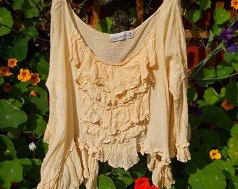 RITANOTIARA Romantic Lagenlook Layering Folkwear Boho Gypsy Hippy Fairy Asymmetric Tank Top ruffled frills layer look quirky funky OSFA