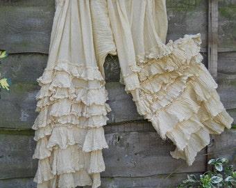 RITANOTIARA Victorian Romantic Lagenlook OSFA Shabby Chic Boho Gypsy Folkwear  Cream Pearl Bloomers Trousers Pants Layering Cotton & Silk